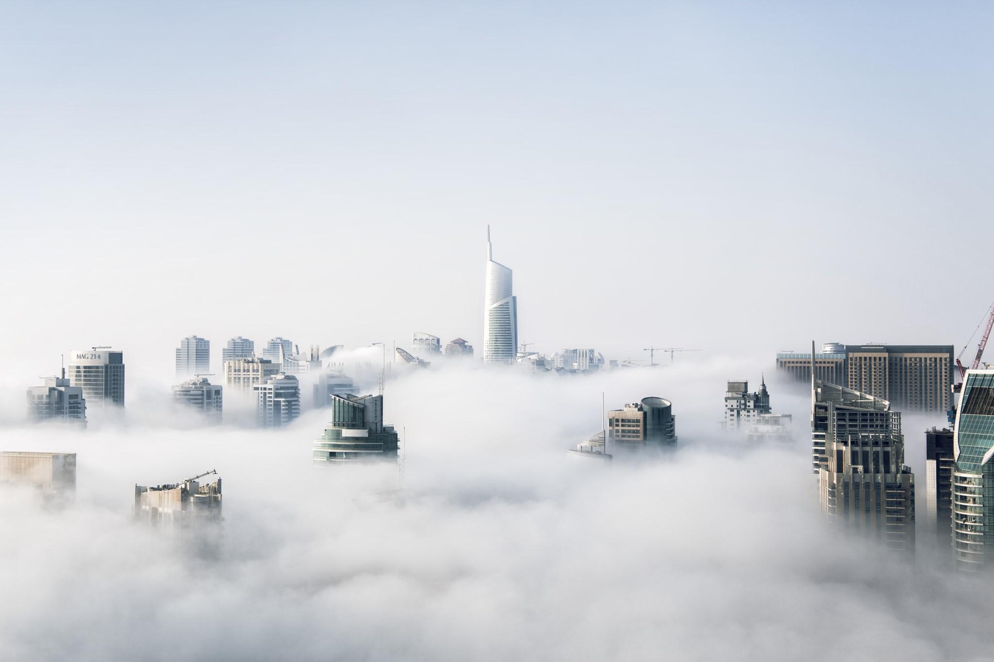 Hochhäuser Skyscraper Inseln Cloud